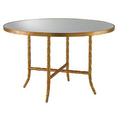 "Currey & Company Sudeley Gilt Bronze Table.Breathtaking in size and scope, this extraordinary piece presents a Lavish Antique Mirror tabletop that covers the entire surface of this circular table. The wrought iron base, made up of four 'braided' legs and an X stretcher, are finished in a lustrous Gilt Bronze veneer for a fantastic luxurious quality. 48 1/4""W x 30 1/2""H x 48.25""D. 102 pounds."