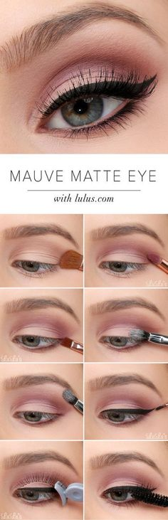 Mauve matte eye with winged liner