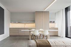 Contemporary design brings beautiful kitchen cabinets in a neutral color palette Minimalist Kitchen, Minimalist Interior, Modern Interior, Minimalist Furniture, Interior Design Kitchen, Kitchen Decor, Kitchen Ideas, Diy Kitchen, Vintage Kitchen