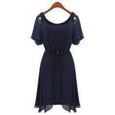 Irregular Hem Short Sleeve Scoop Neck Packet Buttock Faux Twinset Dress, BLUE, XL in Dresses 2014 | DressLily.com