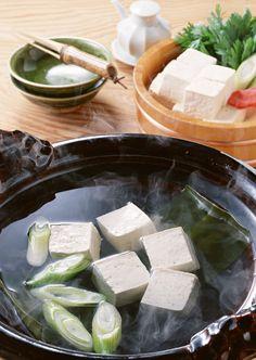 Tofu Cube Hot Pot, Japanese Winter Dish Yudofu 湯豆腐