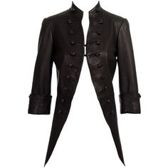 Alexander McQueen Jacket Leather Military Tails ❤ liked on Polyvore