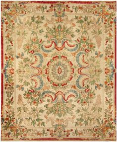 Early 19th Century European Long Pile Table Carpet. Polychrome Silk Plush with…