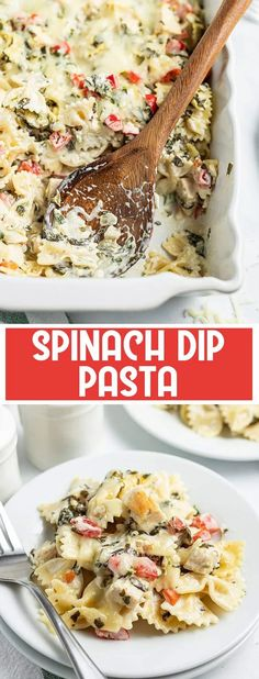 This spinach dip pasta takes a popular party dip, and turns it into a delicious dinner with noodles, chicken and cheese!
