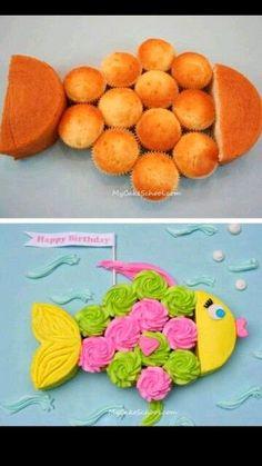 Gâteau anniversaire cupcakes poisson fish