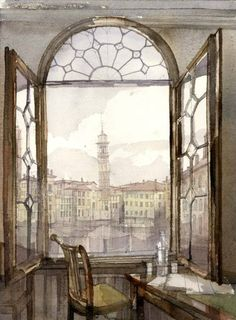 """""""Writing at the Window"""" ~ beautiful watercolor.  No idea who painted it."""