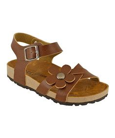 Look what I found on #zulily! Brown Flower Ankle-Strap Sandal by RK Collection #zulilyfinds