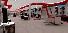 Automotive tyre showroom concept by yahkoob Valappil, via Behance Automotive Shops, Automotive Furniture, Waiting Room Design, Car Workshop, Tyre Shop, Bicycle Storage, Showroom Design, Motorcycle Design, Garage Design