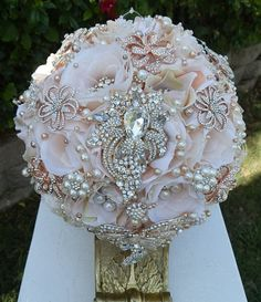 """Elegant Vintage Rose Gold Bouquet  This listing is for a 10"""" Vintage Rose Gold Blush Bridal Brooch bouquet. Bouquet is custom made to order and is approx 29"""""""
