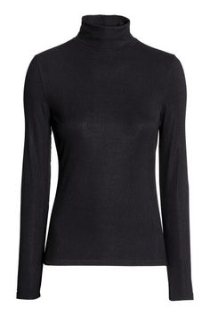 Ribbed polo-neck top: Fitted polo-neck top in ribbed jersey with long sleeves.
