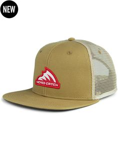 Iconic Patch Flat Bill Trucker Hat  TAN  7e6105b3ae6f