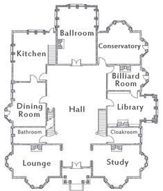floor plans for the house in the movie clue - Bing Images Duplex House Plans, House Floor Plans, Golden Girls House, Clue Movie, Walton House, Mansion Plans, Clue Board Game, Conservatory Kitchen, Clue Games