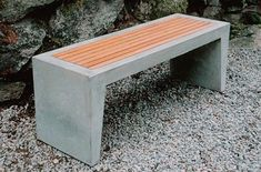 Concrete and wood bench #concretefurniture