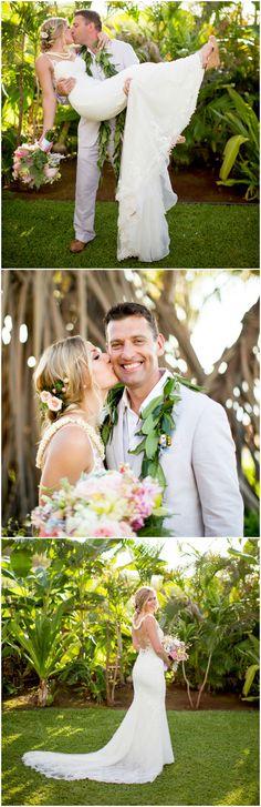 Hawaii wedding fashion, beach wedding attire, maile, casual light grey suit, lace wedding dress, pink floral hair accessory, see the full wedding feature on borrowedandblue.com // Joanna Tano Photography