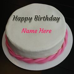 Beautiful Pink Birthday Cake For Girls With Her Name.Write Name on Cake For Girls.Pink Theme Cake With Name.Print Name on Cake For Happy Birthday Celebration