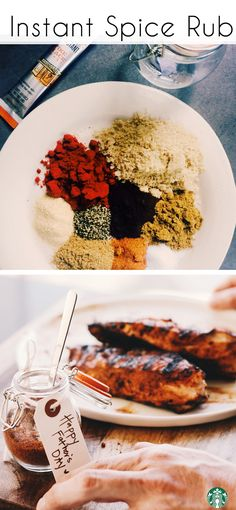 DIY Coffee & Spice Dry Rub! Ingredients: 1/4 teaspoon cayenne, 1/2 teaspoon ground black pepper, 1 teaspoon ground coriander, 1 teaspoon garlic powder, 1 teaspoon cumin, 2 teaspoon salt, 1 tablespoon smoked paprika, 3 tablespoon brown sugar, 1 1/2 packets of Starbucks VIA. Directions: Mix everything together. Store in an airtight container up to 6 months. Try it with chicken on the grill!