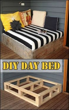 You'll definitely enjoy spending more time outdoors than in your bedroom when you have a daybed like this on your porch or deck! Is this going to be your next DIY project? diy Make a day bed from reclaimed timber Diy Home Decor For Apartments, Diy Home Decor Projects, Home Improvement Projects, Decor Ideas, Decor Diy, Diy Ideas, Wall Decor, Decorating Ideas, Home Decoration