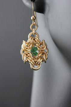 14K oro llenada & Esmeralda cadena Maille pendientes de por MGGems