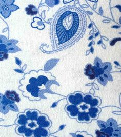 Snuggle Flannel Fabric - Princess Blue Paisley Floral