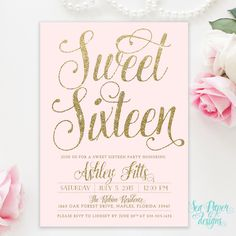 Blush Pink & Gold Glitter Girl Sweet Sixteen 16th Birthday Invitation - Shabby Chic Light Pink Pastel Party Invite Printed Digital by SeaPaperDesigns on Etsy https://www.etsy.com/listing/228892296/blush-pink-gold-glitter-girl-sweet