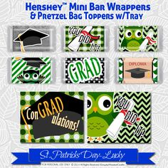 Graduation Hershey Mini's Candy Bar Wrapper,Printable favor Bag Tag, Owl Graduation for Mini bars not Nuggets by EmptyNesterCrafts on Etsy https://www.etsy.com/listing/279864286/graduation-hershey-minis-candy-bar