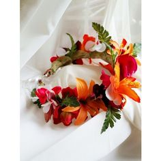 TROPICAL FLOWER CROWN Hawaiian Tropical Headpiece, Bridal, Orchids,... ❤ liked on Polyvore featuring accessories, hair accessories, flower hair accessories, hawaiian hair accessories, flower crown, flower tiara and bride flower crown