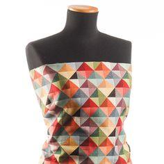 Dekorační látka retro vzor triangle barevný