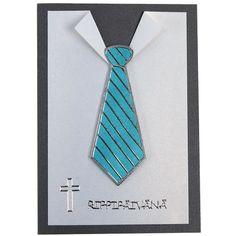 Kravatti on toteutettu ääriviivatarrojen avulla. Ääriviivatarroista löydät myös ristit rippikortteihin. Tarvikkeet ja ideat Sinellistä! Hobbies And Crafts, Diy And Crafts, Boy Cards, Homemade Cards, Quilling, Origami, Projects To Try, Card Making, Invitations