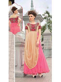 Beige/Pink Partywear Net Women Gown Price INR 4013