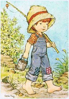 Sarah kay: little boy going fishing Sarah Key, Sara Key Imagenes, Holly Hobbie, Boy Pictures, Gone Fishing, Illustrations, Australian Artists, Cute Illustration, Vintage Children