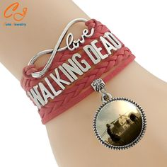 New Arrival In 2016 Fashion Jewelry Hot Selling Classical TV Walking Dead Glass Red Braid Bracelet