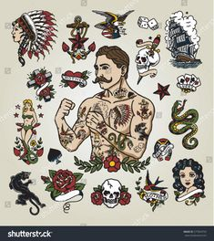Isolated tattoo hipster man and various tattoo images. - Buy this stock vector and explore similar vectors at Adobe Stock Trendy Tattoos, Unique Tattoos, Tattoos For Guys, Small Tattoos, Edinburgh Tattoo, Traditional Tattoo Man, American Traditional Tattoos, Traditional Flash, American Classic Tattoo