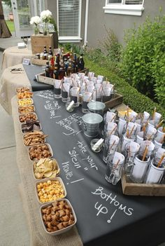 Beer and pretzels! This is a great idea for a party buffet.