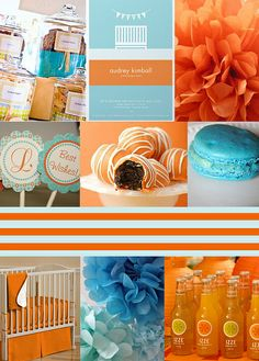 orange and blue baby shower inspiration board by Nina's Pictures_, via Flickr