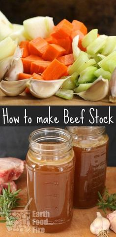 Learn how to make beef stock and broth at home. A simple recipe, full of health benefits, stock is used in soups, sauces, and many other recipes. via @earthfoodfire
