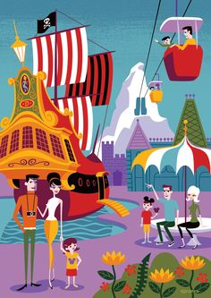 """Morning in the Magic Kingdom"" by SHAG features Disneyland's vivid colors of Captain Hook's Galley and the Skyway gondolas."