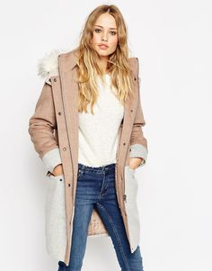ASOS Parka in Colour Block Wool