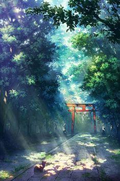 Divine - My Worlds Wonderful whimsical fantasy landscape art Fantasy Art Landscapes, Fantasy Landscape, Landscape Art, Japon Illustration, Digital Illustration, Hotarubi No Mori, Anime Places, Anime Scenery Wallpaper, Nature Wallpaper