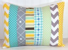 Pillow Cover, Nursery Pillow Cover, Patchwork Pillow Case, 12 x 16 Inches, Teal Blue Aqua Blue Tiffany Blue Yellow and Gray Chevron Stripes