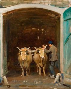 Oxen at an Archway Being Yoked, at Baron Robert's Estate, Chantilly  by Alfred James Munnings