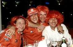 Jean Todt, Michael Schumacher, Rubens Barrichello and Luca di Montezemolo celebrating the win of the Constructors' Title. Michael Schumacher, F1 Motorsport, Nico Rosberg, Ferrari F1, F1 Drivers, F1 Racing, Car And Driver, Formula One, Race Cars