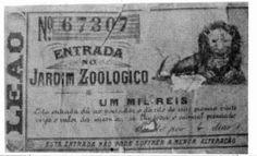 Bilhete de entrada do Jardim Zoológico de Vila Isabel, datado de 1895, com o qual se fazia o jogo do bicho. Reprodução fotográfica MIS. Esta entrada dá ao portador queima 48h o direito de um prêmio vinte vezes o valor da mesma, se lhe sair o animal premiado... (válido por 4 dias) ESTA ENTRADA NÃO PODE SOFRER A MENOR ALTERAÇÃO