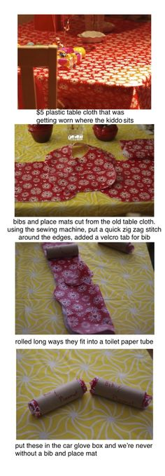 recycled plastic table cloth cut into bibs and place mats - 5 minute project