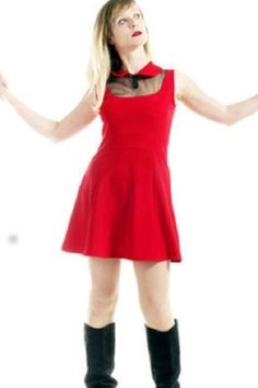 """PROMO! ROBE sixties robe seventies  """"ABSOLUTELY FABULOUS"""" rouge et voile"""