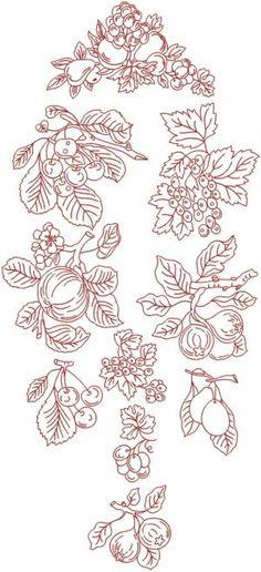 Redwork Embroidery Patterns | Redwork Fruit Set (Now 20% Off!)