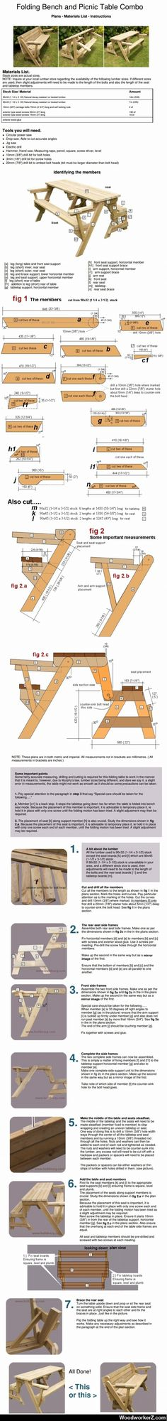 Decor Hacks : Folding Bench and Picnic Table Combo Decor Hacks: Klappbank und Picknicktisch Combo -L Outdoor Projects, Home Projects, Woodworking Bench, Woodworking Projects, Learn Woodworking, Picnic Table Bench, Pinic Table, Chair Bench, Folding Picnic Table Plans