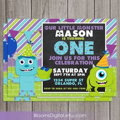 Monsters Inc Invitation Monsters University by BloomsDigital, $8.00