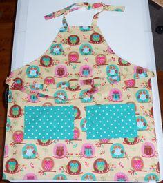 Girls Owl apron Handmade  Size 7/8   Teal & by beckyspillowshop, $16.00