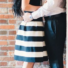 Anthropologie Black and White Stripe Skirt Wore this for my engagement pictures. Mint condition, worn twice. Doesn't wrinkle! Anthropologie Skirts Midi