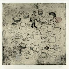 """Tomoyo Ihaya  """"Old Pots"""", (1/1), 2011,  Collage on Etching,  8 x 8 inches"""